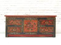 China ca 1940 flache Anrichte Kommode Lowboard Pinie bemalt mit traditionellen Motiven von Luxury Park