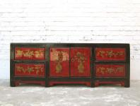 China ca 1930 flache Anrichte Kommode Lowboard Pinie bemalt mit traditionellen Motiven von Luxury Park