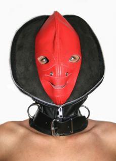Ledermaske Doppel-Maske schwarz/rot