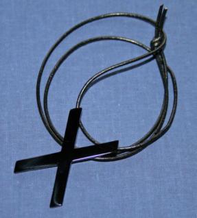 BDSM Anhänger Halskette Andreaskreuz, schwarz - Vorschau 1
