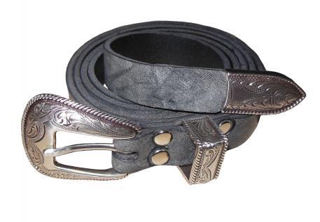 Premium Leder Gürtel MEX19 Western dunkelgrau - Vorschau