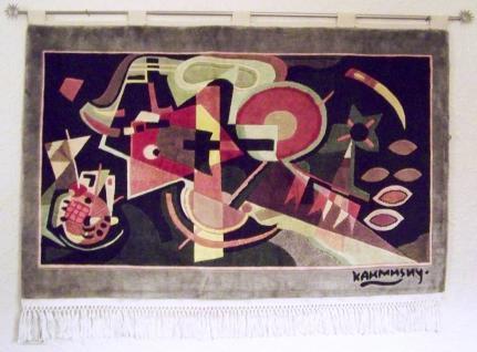 Kunst Teppich Wandteppich Wassily Kandinsky - in Blue - 115 x 70 cm Reliefschnit