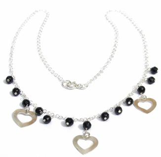 Collier 13x schwarzer facettierter Onyx 925 Silber Herz
