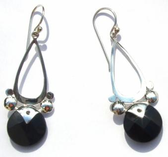 Ohrringe 2x schwarzer Onyx 925 Silber lange Starkreisfacetten