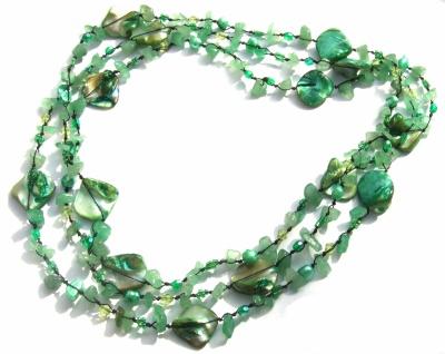 Kette Aventurin Perle Perlmutt geknotet 1, 2, 3-fach tragbar sehr lang grün
