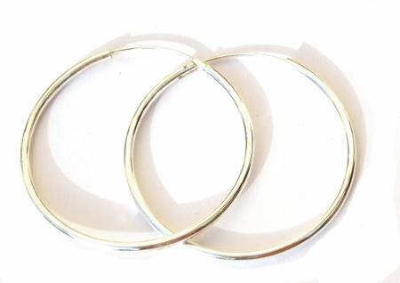 Runde Creolen 1 Paar Silber 40 mm Ohrringe