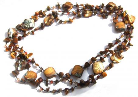 Kette Tigerauge Perle Perlmutt geknotet 1, 2, 3-fach tragbar sehr lang