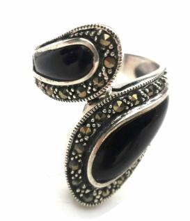 Ring 2x schwarzer Onyx 12x Markasit 925 Silber Umarmung