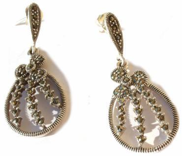 Ohrringe 58 x funkelnder Markasit 925 Silber große Tropfen