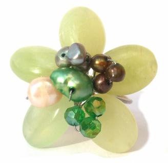 Ring 5x grüner Serpentin 8x Perlen groß 3-fache Ringschiene verstellbar