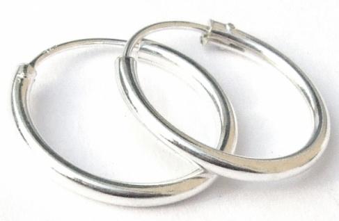 Runde Creolen 2 Paar 2 Größen Silber Ohrringe