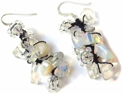 Ohrringe lang 14x Mondstein 4x Perlen 925 Silber Blumen bläulich