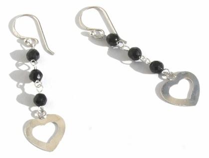 Ohrringe 6x facettierter schwarzer Onyx 925 Silber Herz