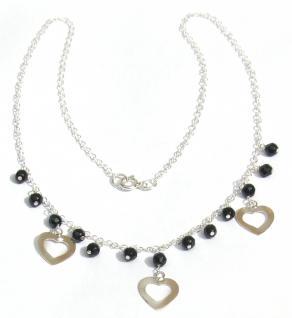 GRACY HARDS & BLACK - facettierter Onyx 925 Silber Herz Collier