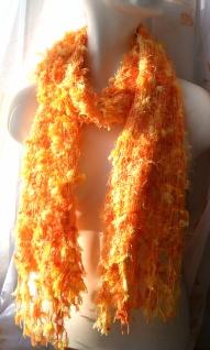 Schal 100% Rohseide 30 x 152 cm orange gelb kuschelig - Vorschau 3