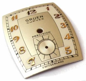 Ziffernblatt Gruen Curvex Precision original 40er Jahre nos silber rechteckig