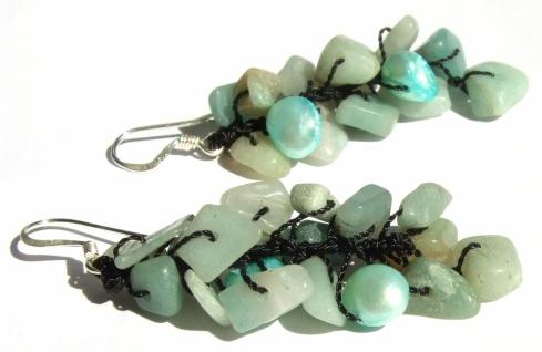 Ohrringe lang 925 Silber 28x Aquamarin 4x Perlen hellblau