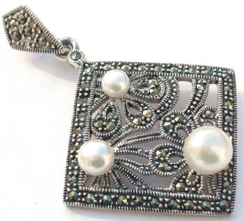 PERLEN BLUMEN MEISTERWERK Perle Markasit Silber Anhänger