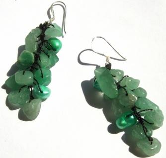 Ohrringe lang 28x Aventurin 4x Perlen 925 Silber grün