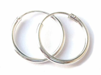 Runde Creolen 1 Paar Silber 16 mm Ohrringe