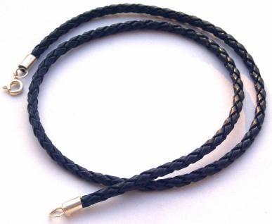 Flechtband Leder schwarz Länge und Verschluss wählbar