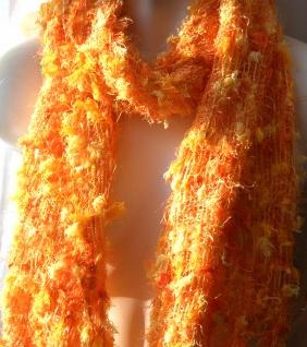 Schal 100% Rohseide 30 x 152 cm orange gelb kuschelig - Vorschau 2