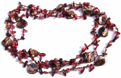Kette Granat Perle Perlmutt geknotet 1, 2, 3-fach tragbar hochvariabel dunkelrot