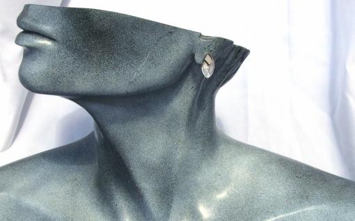 Ohrstecker Perlmutt 925 Silber großes Blatt Intarsien weiß irrisierend - Vorschau 5