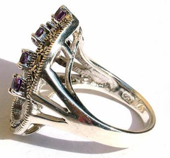 Ring 5x lila Amethyst Rundfacetten 10x Markasit 925 Silber groß - Vorschau 4