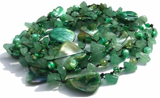 Kette Aventurin Perle Perlmutt geknotet sehr lang grün hochvariabel