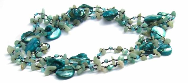 Kette Aquamarin Perle Perlmutt geknotet 1, 2, 3-fach tragbar sehr lang