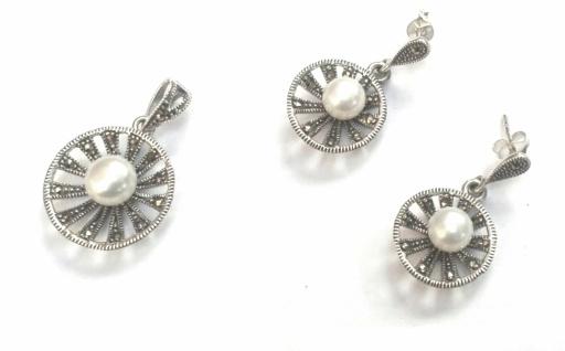 Schmuckset 3x große weisse Perle 35x Markasit 925 Silber Corona