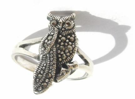 Ring 12x funkelnder Markasit 925 Silber Eule