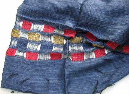 Schal 100 % Rohseide 40 x 175 cm blau mit Rechteckmuster
