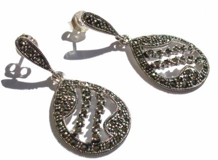 Ohrringe 88 x grosser funkelnder Markasit 925 Silber große Filigran Tropfen