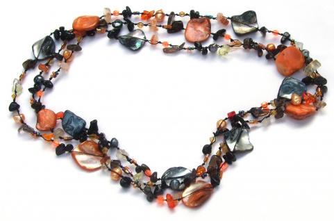 Kette Onyx Karneol Perle Perlmutt geknotet 1, 2, 3-fach tragbar sehr lang