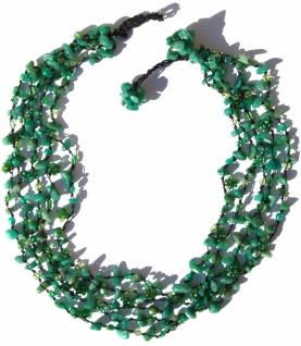 Collier 125x Moosachat grüne SWZucht-Perlen Kristalle Blumen 5-reihig