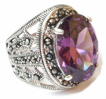 LILA STEIN GIGANT Zirkonia Markasit Silber Ring