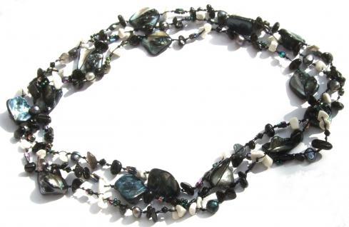 Kette Howlith Onyx Perle Perlmutt geknotet 1, 2, 3-fach tragbar sehr lang schwarzweiß