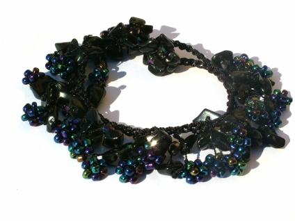 Armband 50x schwarzer Onyx 20x obsidiane Blumen längenvariabel