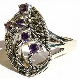 Ring 5x lila Amethyst Rundfacetten 10x Markasit 925 Silber groß - Vorschau 2