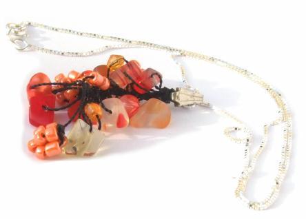 Kette mit Anhänger Karneol Perlen Blumen 925 Silber Kette orange Unikat