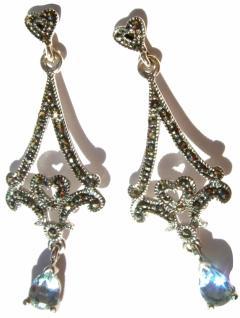 Ohrringe 2x blauer Topas 60x Markasit 925 Silber mit Herz