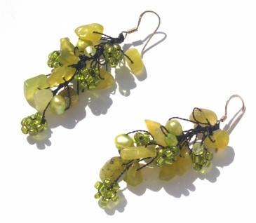 Ohrringe lang 14x Serpentin 4x Perlen 925 Silber Blumen hellgrün