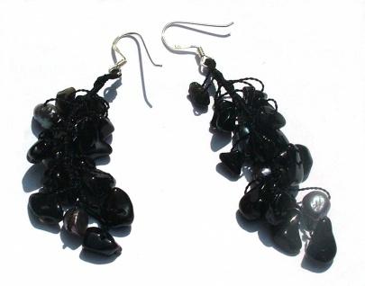 Ohrringe lang 6x Perlen 26x Onyx 925 Silber