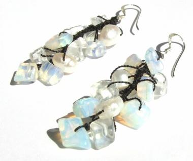Ohrringe lang 26x Mondstein 4x Perlen 925 Silber bläulich