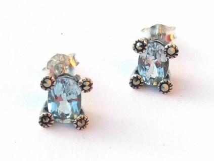 Ohrstecker 2x hellblauer Topas Ovalfacetten 8x Markasit 925 Silber Solitär
