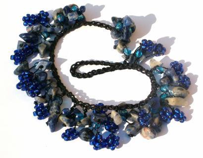 Armband 50 x dunkelblauer Lapis Lazuli 20 x blaue Blumen längenvariabel