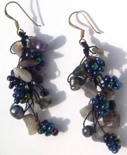 Ohrringe lang Sardonyx Perlen Blumen 925 Silber BROWNGREY MERMAID