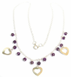 Collier 13x lila facettierter Amethyst 925 Silber Herz
